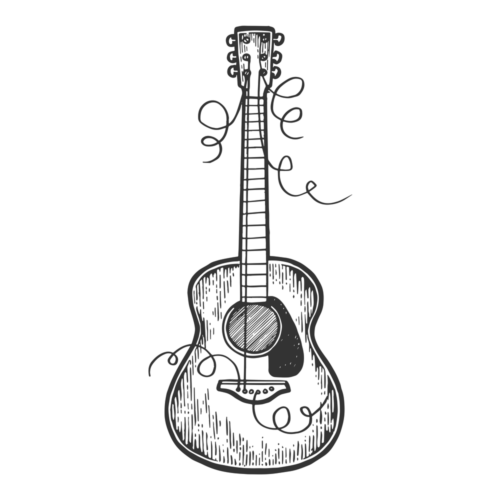 Guitar with torn strings engraving vector illustration. Scratch board style imitation. Black and white hand drawn image.